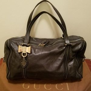 Gucci Duchessa Boston Bag Brown Leather Satchel